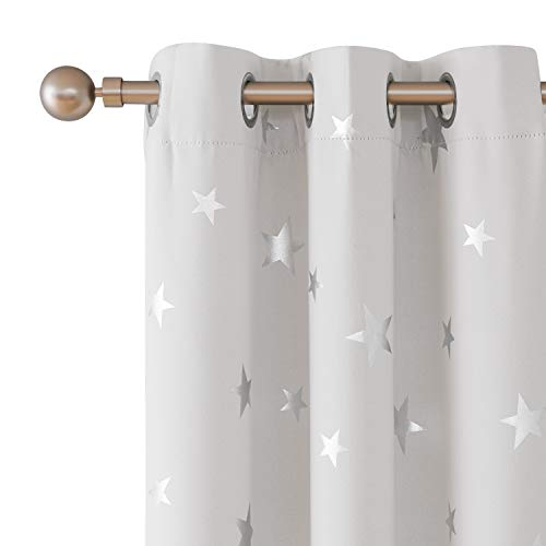 Deconovo Blackout Curtains Sliver Star Print Solid Thermal Insulated Blackout Curtain 42 X 84 Inch Greyish White One Pair