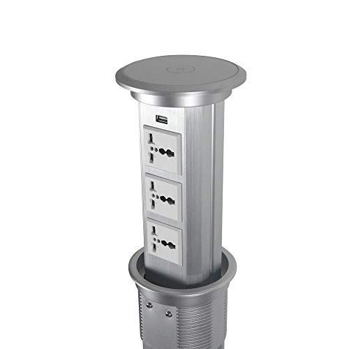 Popcat Automatic Raising Retractable Surge Protector Power Strip Pop Up Outlet Desk Recessed Power Socket, 3 Universal…