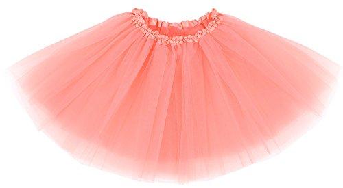 - Simplicity Women's Elastic 3 Layered Party Dancing Tulle Tutu Skirt, Peach Beige