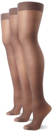 Hanes Silk Reflections Women's Alive 3 Pair Multi Pack Full Support Control Top Pantyhose, Barely Black, (Hanes Alive Hosiery)