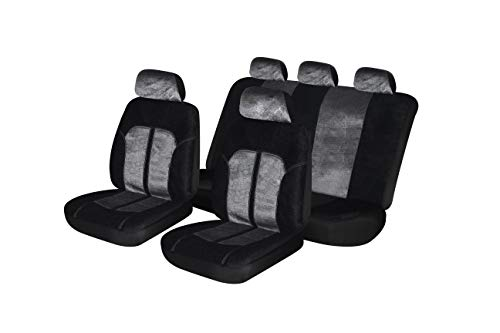 Suede Car Seat Cover - Autonise Universal fit Classic Sport Bucket seat Cover (Fit Most Car,Truck, SUV, or Van with headrest) Airbag Compatible (Gray Valour, Full Set)