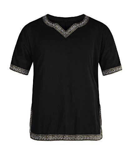HEFASDM Homens de manga curta grande altura do palco roupa patchwork medieval T-shirt tops Black S
