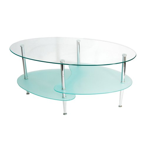 - Walker Edison Glass Oval Coffee Table