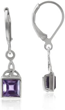 1.36ct. Natural Amethyst 925 Sterling Silver Triquetra Celtic Knot Leverback Earrings