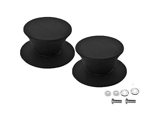 Pot Lid Knob Silicone Knob Pot Lid Handle Cover Plastic Kitchen Cookware Pot Knob Pan Lid Handle Universal Kitchen Replacement 2 Pcs ... (2 Pcs, Black) ()