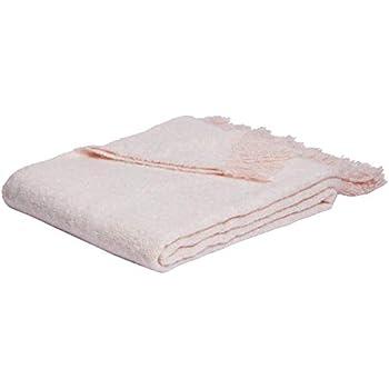 AmazonBasics Faux Angora Fringed Throw Blanket - Desert Rose, 50