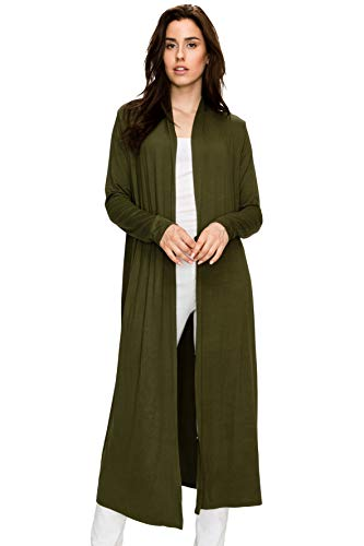 EttelLut Maxi Long Open Front Lightweight Cardigan Sweaters Regular Plus Size Olive M