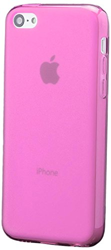 iCues Apple iPhone 5C |  TPU Matt Case Pink | [Display Schutzfolie Inklusive] Transparent Klarsichthülle Durchsichtig Klare Klarsicht Silikon Gel Schutzhülle Hülle Cover Schutz