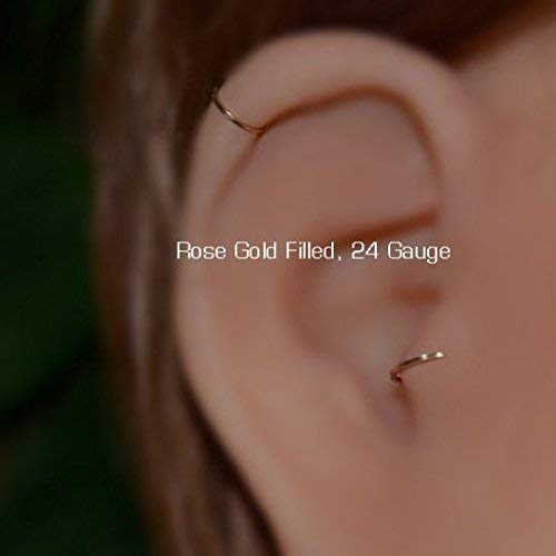 95419a80a Amazon.com: Tragus Earring 24g - Gold Nose Ring - Tragus Hoop - Nose Hoop -  Forward Helix Earring - Cartilage Earring - Rook Piercing - Conch Earring:  ...