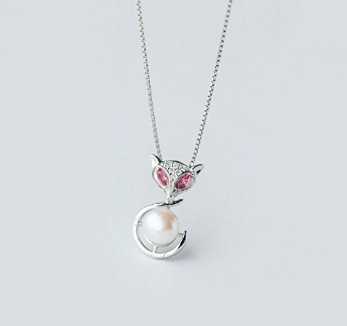 Helen de Lete Little Red Eye Pearl Fox Sterling Silver Collar Necklace