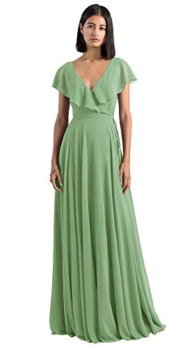 Women's Cap Sleeve V Neck Bridesmaid Dresses Long A-Line Ruffles Chiffon Wedding Party Gowns Sage Size 10