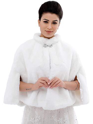 Aukmla Faux Fur Wrap Bridal Wrap Stole Wedding Fur Shrug Faux Fur Cape with Stunning Rhinestones Brooch (White)