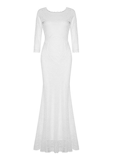 MABELER Women's Retro Floral Lace 2/3 Sleeve Wedding Party Bridesmaid Long Dress (S, White)