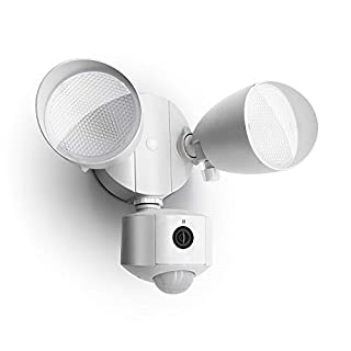 LUTEC 1200 Lumen LED Motion Activated Integrated Dual-Head Floodlight with Camera Outdoor,Used with Phone and Alexa, IP54 Waterproof Exterior Security Wall Light for Patio, Garden-White