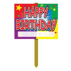Happy Birthday Yard Sign Party Accessory (1 count) -