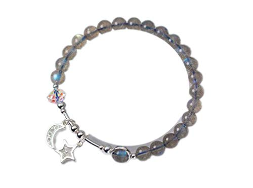 Small 6mm 925 Sterling Silverjewelry Natural Moonstone Moon &Star Crystal Charms Bracelet