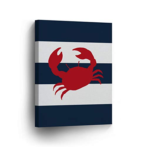 Crab Red Illustration Navy Blue and White Striped Background Nautical Decor Canvas Print Coastal Wall Art Home Decoration Stretched Ready to Hang-%100 Handmade in The USA- 12x8