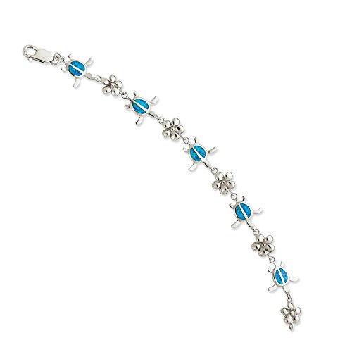 Blue Created Opal Inlay Bracelet - 925 Sterling Silver 7 Inch Created Blue Opal Inlay Tortoise Flower Bracelet Gemstone Fine Jewelry Gifts For Women For Her