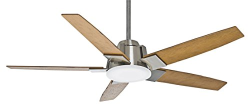 Casablanca Fan Company 59109 Zudio 56-inch Brushed Nickel Ceiling Fan with reversible Walnut/Burnt Walnut Blades and Clear Frosted Glass Light by Casablanca
