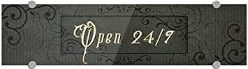 24x6 5-Pack Victorian Frame Premium Acrylic Sign Open 24//7 CGSignLab