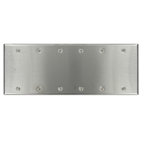 (Leviton 84066-40 6-Gang No Device Blank Wallplate, Standard Size, Box Mount, Stainless Steel)