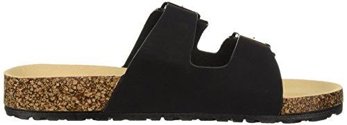 Women's Qupid Flat Slide Black Sandal dArAnf