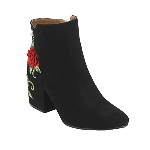 Qupid Ej10 Womens Floral Embroidered Wrapped Chunky Heel Ankle Booties  Color Black  Size 6