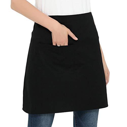 (LOYHUANG 3 Pockets Waist Apron (Pack of 6) - Black Half Kitchen Waitresses Apron for Men, Women, Chef, Baker, Servers, Waitress, Waiter (Black))