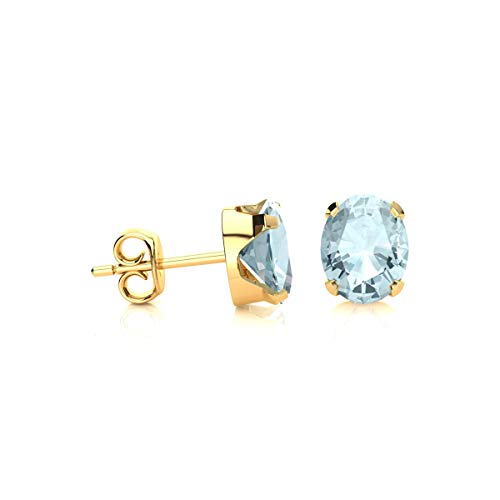 Oval Shape Aquamarine Gemstone Stud Earrings | Available In Yellow Gold, Rose Gold and Silver