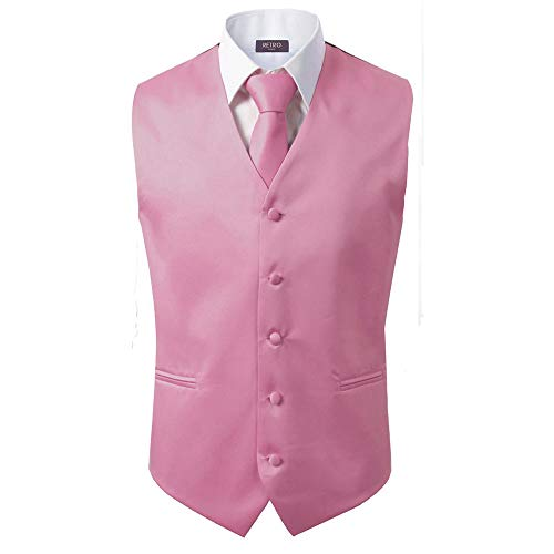 (3 Pcs Vest + Tie + Hankie Men's Fashion Formal Dress Suit Slim Tuxedo Waistcoat Coat (Large, Pink))