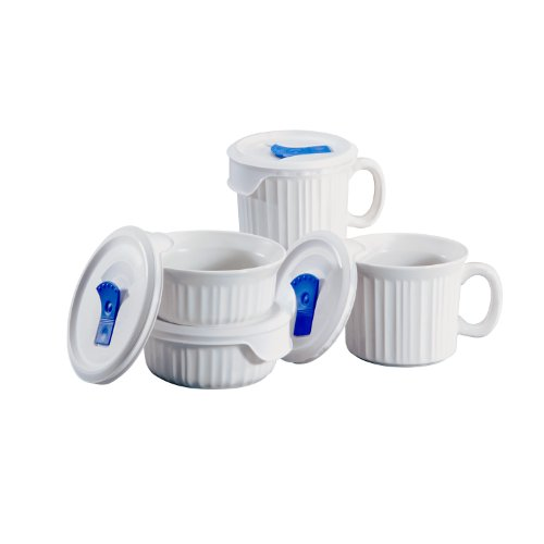 CorningWare 1044081 882374607838 French White Pop-Ins 8-Piece Round Bake and Serve Set
