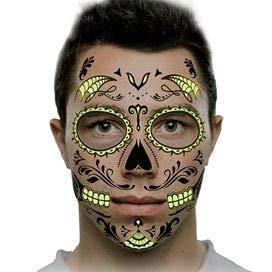 Sugar Skull -Glow Temporary Tattoos | Skin Safe | MADE IN THE USA| -