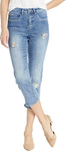 FDJ French Dressing Jeans Women's Statement Denim 3D Flower Patches Olivia Capris in Moody Blue Moody Blue 8 23