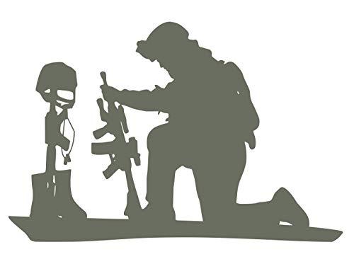 UR Impressions Gry Soldier Praying Over Battlefield Cross Decal Vinyl Sticker Graphics for Cars Trucks SUV Vans Walls Windows Laptop|Gray|6.4 X 4.3 Inch|URI334-G