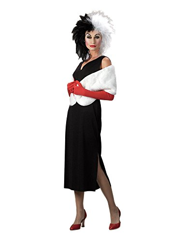 Disguise Adult 101 Dalmatians Disney Cruella De Vil Costume, Black/White, Large (12-14)]()