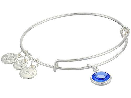 (Alex and Ani Women's Swarovski Color Code Bangle September Sapphire Bracelet, Shiny Silver)