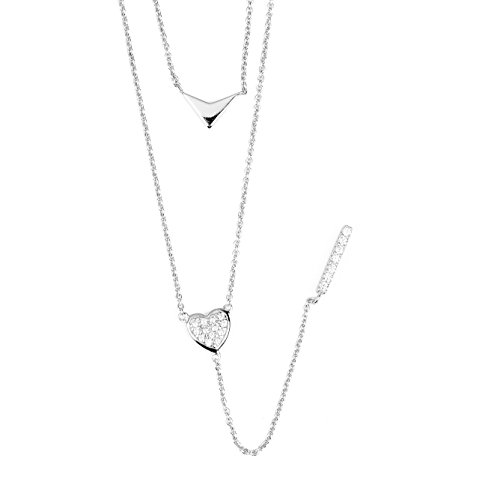 blackbox Jewelry Sterling Silver Two Layered White Cubic Zirconia Elegant Triangle Heart Pendant Rhodium Plated Necklace (Heart Boxes Triangle)