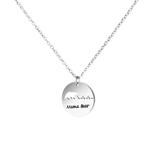 Bear Steel Stainless (Awegift Delicate Mama Bear and 3 Babies Disc Pendant Necklace Stainless Steel Jewelry Gift for Mother)