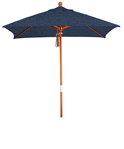 (Eclipse Collection 6'x6' Wood Market Umbrella Pulley Open Marenti Wood/Sunbrella/Spectrum Indigo)