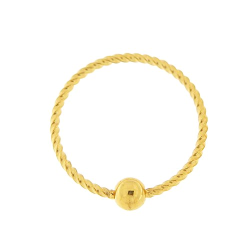 18 Gauge - 6MM Length Gold PVD Surgical Steel Continue Twister Flexible BCR Septum Nose Ring Piercing ()