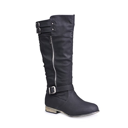 Twisted Women's Noah Wide Width/Wide Calf Knee High Faux Leather Boots with Buckle Straps - NOAH01P BLACK, Size 12