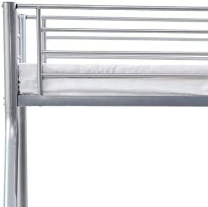 Humza Amani Palmdale Metal Triple Sleeper Bunk Bed with 2 Economy Mattress Set, Single/Double, 3 ft/4 ft 6-inch, 201 x 145 x 154 cm, Silver
