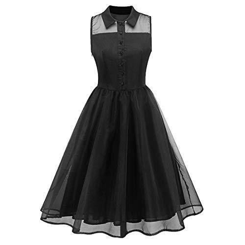 (Ez-sofei Women's Vintage 1950s Pan Collar Mesh Floral Cocktail Swing Shirt Dress (Black, S))