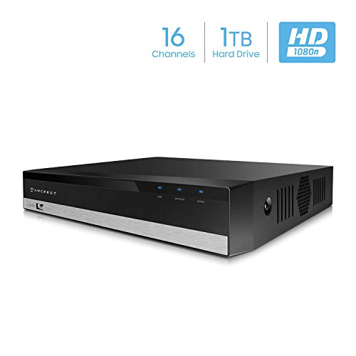 CH DVR Video Security Recorder, Pentabrid (5-in-1) Supports AHD, HD-TVI, HD-CVI, 960H, Amcrest IP Cameras. Pre-Installed 1TB HDD. Cameras NOT Included (AMDVTENL16-1TB) ()