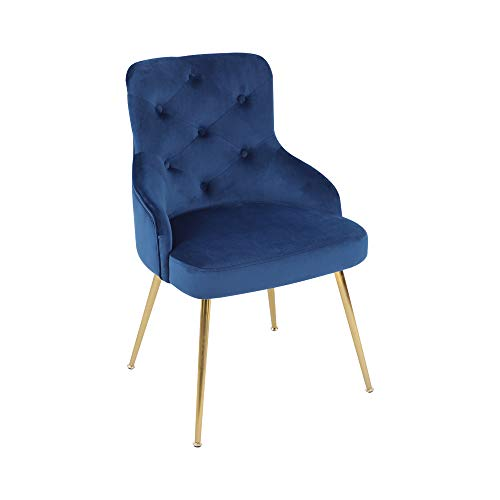 ARDICO Modern Velvet Accent Chair High Back Elegant Dinning Chairs with Arms in Living Guest Room (Blue)
