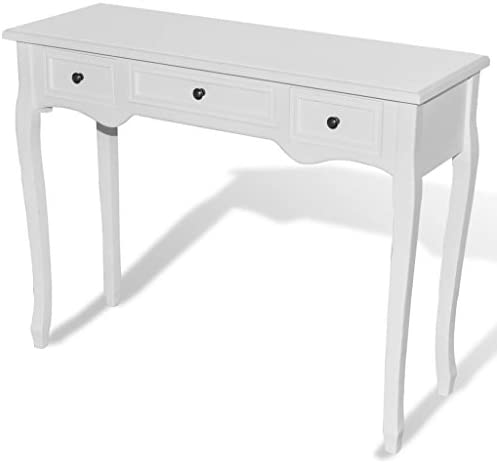 vidaXL Dressing Console Table with Three Drawers White Entry Hallway Side Desk