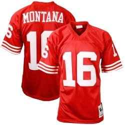 Mitchell & Ness San Francisco 49ers #16 Joe Montana Red Authentic Throwback Football Jersey (40) (Montana Football)