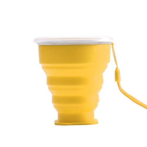 XZDCDJ Folding Cup Portable Silicone Telescopic Drinking Collapsible Travel Camping (yellow)