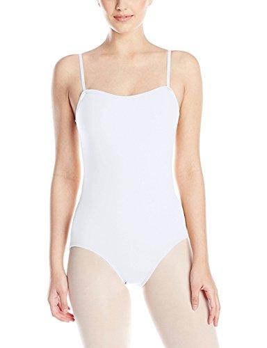 FAIMILORY Women's Basic Solid Scoop Neck Bodysuit Stretch Leotard (S, Adjustable Straps White)