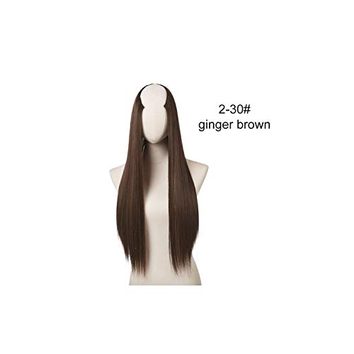 170g U-Part Clip in Hair Extension Straight & Wavy One Piece Full Head Long Natural False Synthetic Hairpieces,Ginger Brown,24inches -